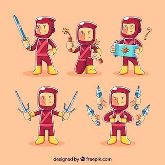 Rode ninja karakterverzameling