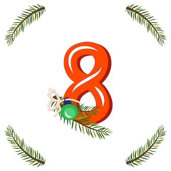 Rode nummer acht met groene kerstboomtak, bal en boog. feestelijk cijfer voor gelukkig nieuwjaar en helder alfabet