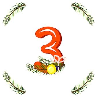 Rode nummer drie met groene kerstboomtak, bal en boog. feestelijk cijfer voor gelukkig nieuwjaar en helder alfabet