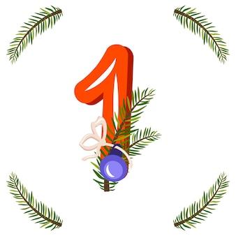 Rode nummer één met groene kerstboomtak, bal en boog. feestelijk cijfer voor gelukkig nieuwjaar en helder alfabet