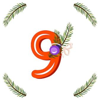 Rode nummer negen met groene kerstboomtak, bal en boog. feestelijk cijfer voor gelukkig nieuwjaar en helder alfabet