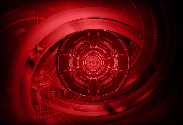 Rode ogen cyber circuit toekomstige technologie concept achtergrond