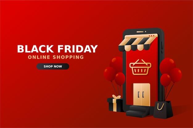 Rode online winkel met telefoonillustratie voor black friday-verkoopbanner