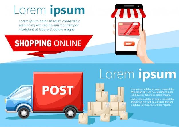 Rode open brievenbuspost met post in de stijlillustratie op witte achtergrondwebsitepagina en mobiele app