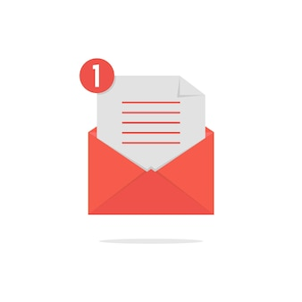 Rode open envelop met checklist en schaduw. concept van nieuwsbrief, informeren, ondersteunen, inkomend, bevestigen. geïsoleerd op een witte achtergrond. vlakke stijl trend moderne logo ontwerp vectorillustratie