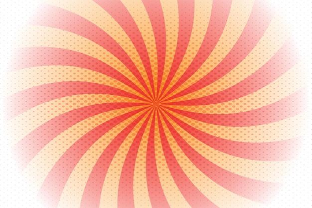 Rode, oranje spiraalvormige zonnestraalachtergrond in komische stijl