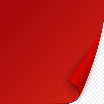 Rode pagina met gekrulde hoek, lege papieren sjabloon