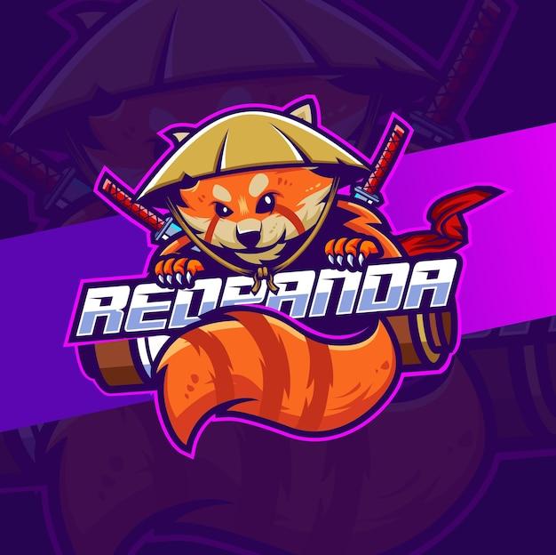 Rode panda japan samurai mascotte karakter logo ontwerp voor spel en sport logo Premium Vector