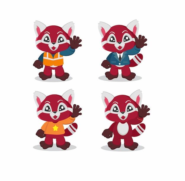 Rode panda karakter illustratie
