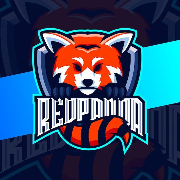 Rode panda mascotte esport logo ontwerp