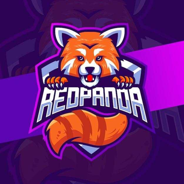 Rode panda mascotte karakter logo ontwerp voor game en sport logo Premium Vector