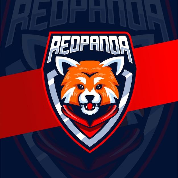 Rode panda mascotte logo ontwerp