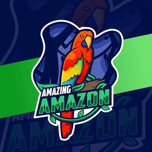 Rode papegaai vogel mascotte logo ontwerp