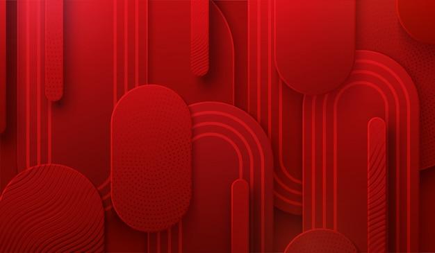Rode papercut achtergrond. 3d-afbeelding. abstracte geometrische gelaagde achtergrond. papieren vormen geweven met patronen. minimalistisch omslagontwerp
