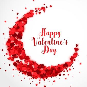 Rode papercutharten op cresent-de achtergrond van de valentijnskaartendag