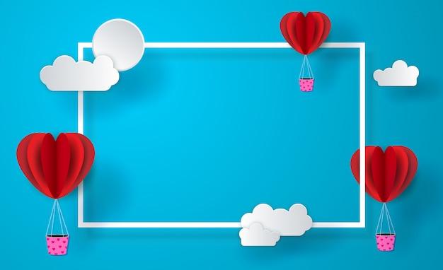 Rode papieren ballonnen op blauwe hemelachtergrond. illustratie. papier gesneden stijl.