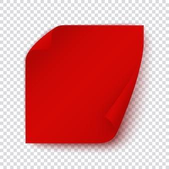 Rode papieren banner, vierkante kleverige pagina met omslaghoek, sjabloon voor bericht, post, notitie, uitnodiging. feestelijk inpakpapier. realistische illustratie.