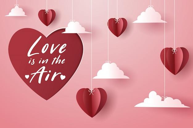 Rode papieren hart en lege rode papieren hart kaart, valentijnsdag ...
