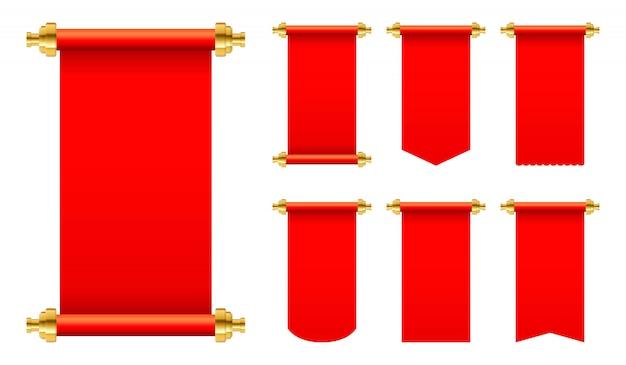 Rode papieren scroll set