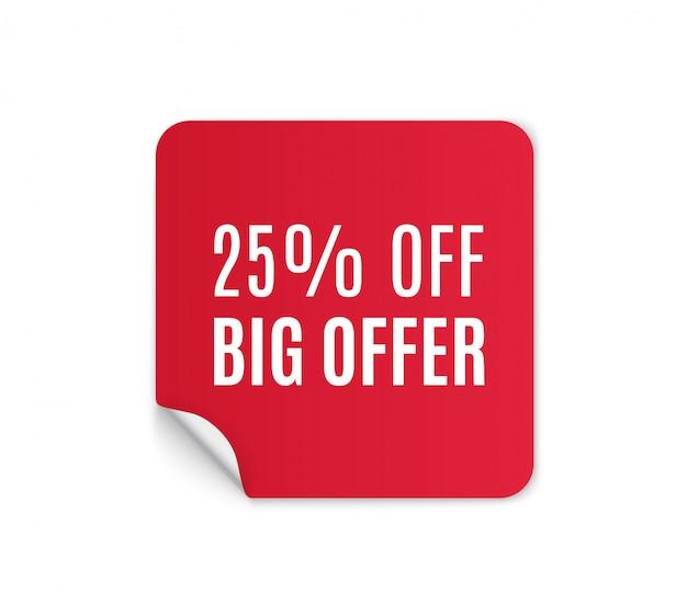 Rode papieren sticker te koop op een witte achtergrond. ronde, vierkante, rechthoekige, gedraaide rode verkoopbanners, labels, tags. illustratie.