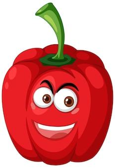 Rode paprika stripfiguur met blij gezicht expressie op witte achtergrond