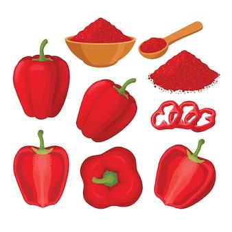 Rode paprika vector set illustratie