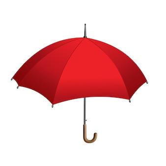 Rode paraplu. geïsoleerd op een witte achtergrond. parasol geopend. handbediende regen- of windschermbescherming.