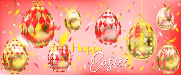 Rode pasen-banner met gouden eieren en confettien