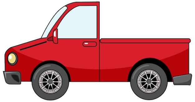 Rode pick-up auto in cartoon stijl geïsoleerd op wit