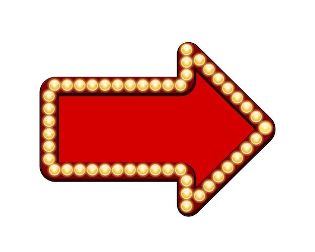 Rode pijl met gloeilampen