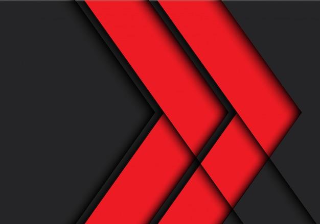 Rode pijl schaduwlijn op zwarte achtergrond.