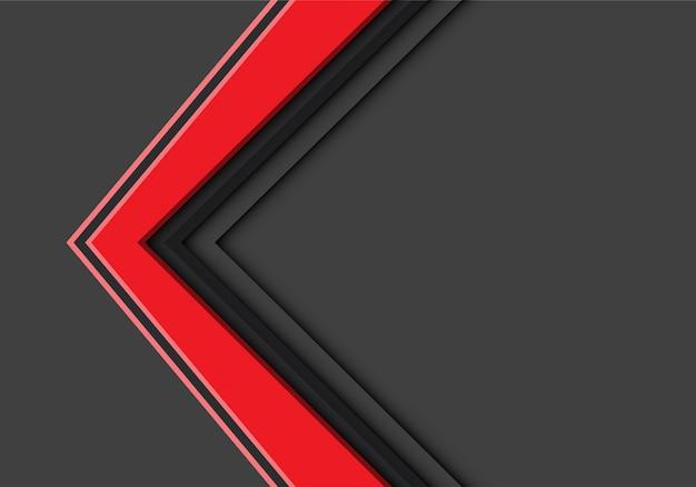 Rode pijlrichting overlappen op grijze achtergrond.