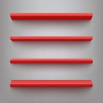 Rode planken voor productvertoning in tentoonstellingen of marktwinkels. leeg huis interieur boekenstandaard, eenvoudig kantoormeubilair, winkel plank met schaduw.