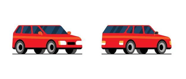 Rode platte auto kant terug vooraanzicht. cool vector vervoer ontwerp item stationwagen gezinsauto. klassiek uitziend hatchback-voertuig ter illustratie van de levering