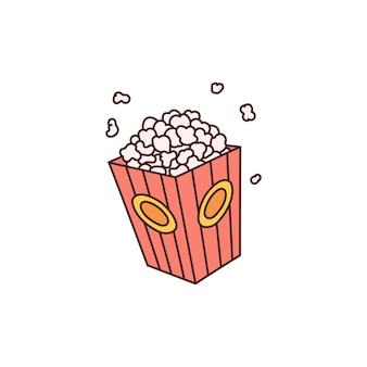 Rode popcorn doos pictogram geïsoleerd op wit oppervlak - schattige cartoon film snack voedsel container met vliegende maïs stukken