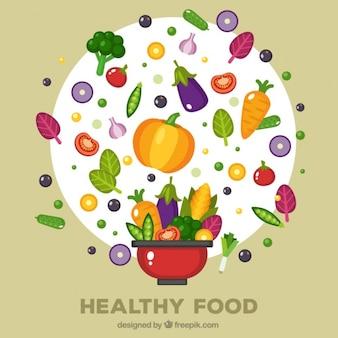 Rode pot met verschillende gezonde voeding