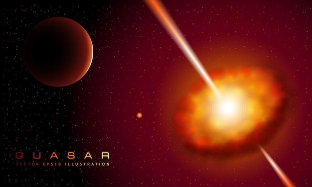 Rode quasarnevel met stralen