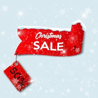 Rode realistische gebogen papier merry christmas