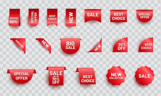Rode realistische lint prijskaartje set. aanbieding aanbieding labelverzameling