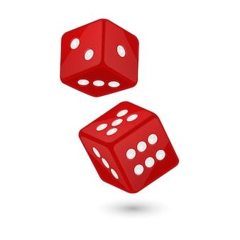 Rode realistische spel dobbelstenen pictogram tijdens de vlucht geïsoleerd op wit casino gokken