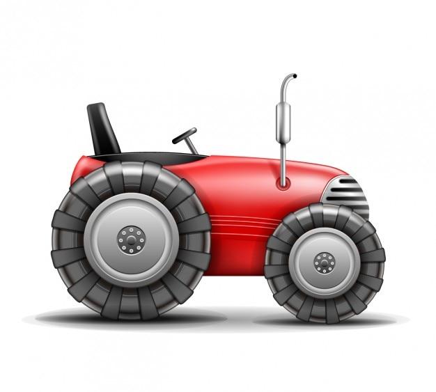 Rode realistische tractor