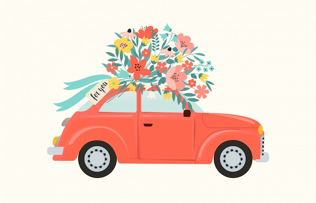 Rode retro stuk speelgoed auto die boeket van bloemendoos op roze achtergrond levert.