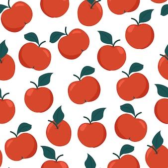 Rode rijpe appels naadloze patroon, vectorillustratie van herfst oogst in vlakke stijl. isoleren.