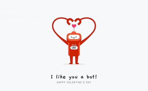 Rode robot met hand die het gevormde hart vormt