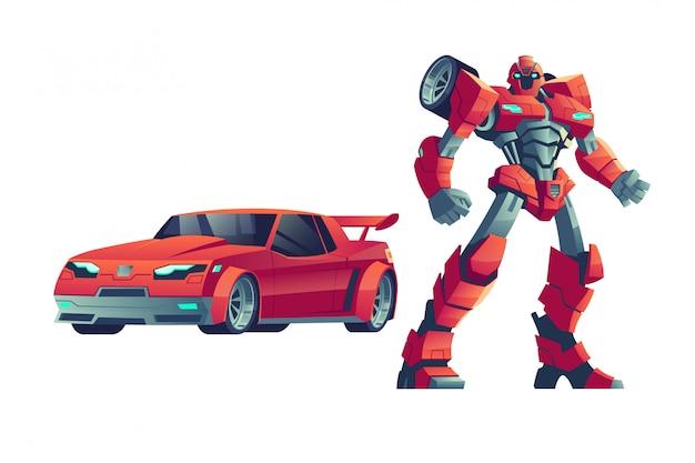 Rode robottransformator en auto, beeldverhaalillustratie