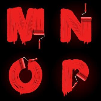 Rode rolborstel alfabet lettertype