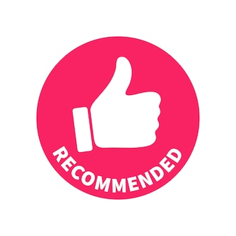 Rode ronde tagbanner - aanbevolen. vectorteken met omhoog duim en tekst ingeschreven in cirkelvorm. klaar conceptontwerpelement voor gebruik in marketing, reclame, print en web.