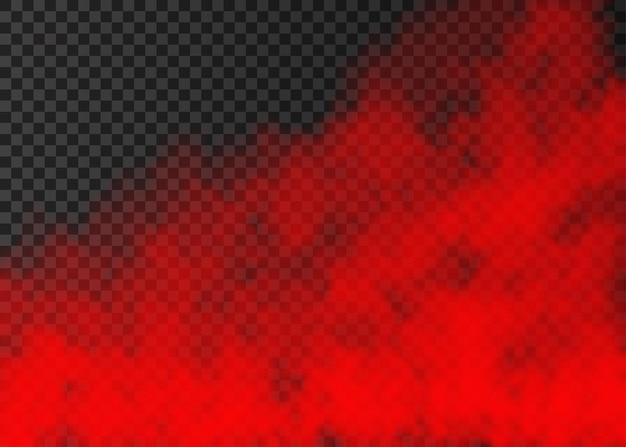 Rode rook geïsoleerd op transparante achtergrond. stoom speciaal effect. realistische kleurrijke vectorbrandmist of misttextuur.