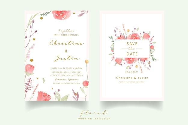 Rode roos aquarel bruiloft uitnodiging