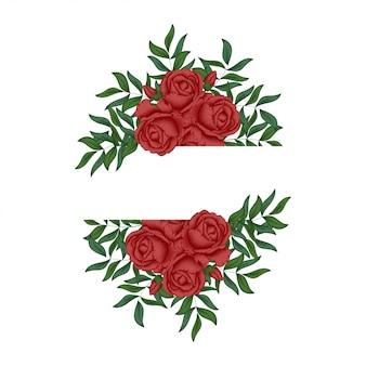 Rode roos bloemen frame